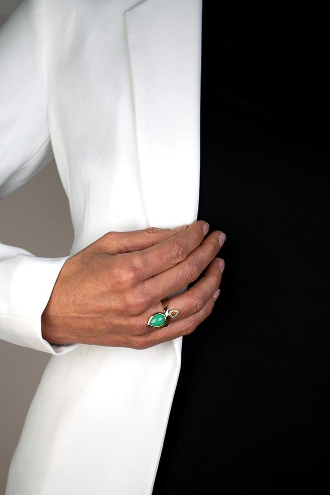 ring Stoer Meisje, chrysopraas